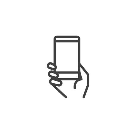 Using mobile gadget line icon. linear style sign for mobile concept and web design. Hand with smartphone outline vector icon. Symbol, logo illustration. Vector graphics Stock Illustratie