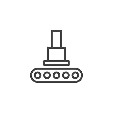 Automation press machine line icon. linear style sign for mobile concept and web design. Hydraulic pressing, conveyor belt outline vector icon. Symbol, logo illustration. Vector graphics