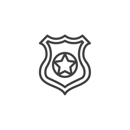 Police badge line icon. linear style sign for mobile concept and web design. Shield with star outline vector icon. Symbol, logo illustration. Vector graphics Çizim