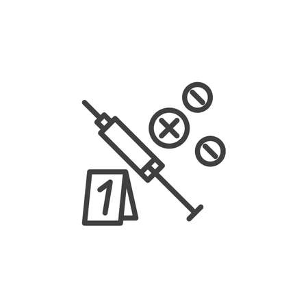 Evidence drugs line icon. linear style sign for mobile concept and web design. Syringe and tablets outline vector icon. Symbol, logo illustration. Vector graphics