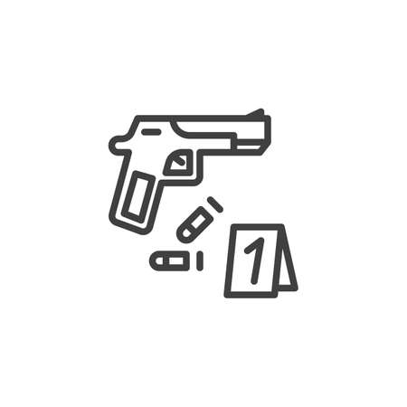 Crime scene, evidence line icon. linear style sign for mobile concept and web design. Gun and bullets, evidence outline vector icon. Symbol, logo illustration. Vector graphics
