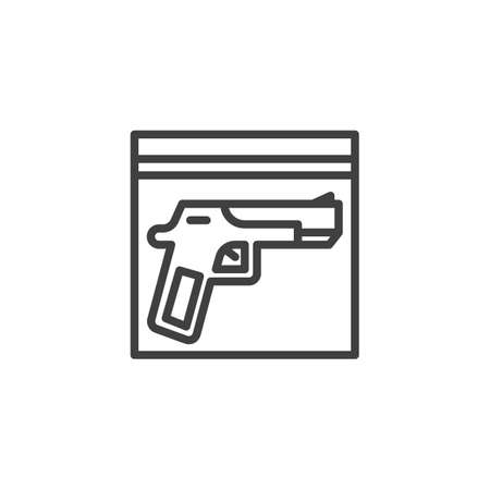 Evidence, gun line icon. linear style sign for mobile concept and web design. Crime scene investigation outline vector icon. Symbol, logo illustration. Vector graphics