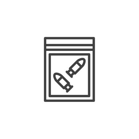 Crime Scene Investigation line icon. linear style sign for mobile concept and web design. Bullets pack evidence outline vector icon. Symbol, logo illustration. Vector graphics 向量圖像