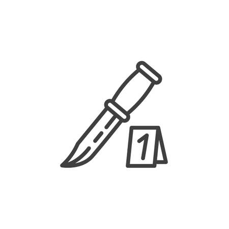 Knife evidence line icon. linear style sign for mobile concept and web design. Crime scene investigation outline vector icon. Symbol, logo illustration. Vector graphics