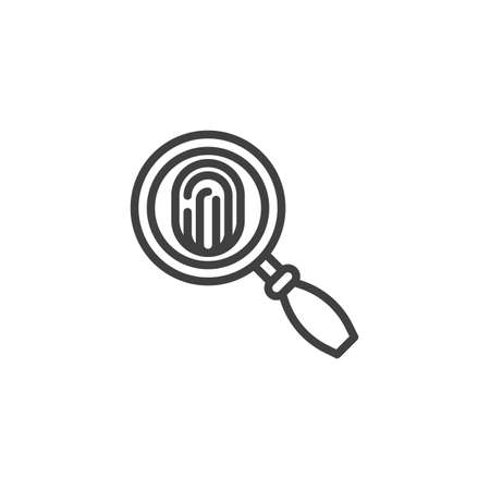 Magnifying Glass and Fingerprint line icon. linear style sign for mobile concept and web design. Search Fingerprint outline vector icon. Symbol, logo illustration. Vector graphics 向量圖像