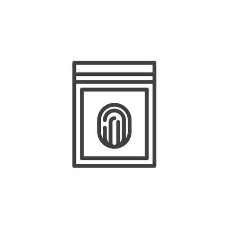 Fingerprint evidence line icon. linear style sign for mobile concept and web design. Plastic bag with fingerprint outline vector icon. Symbol, logo illustration. Vector graphics 向量圖像