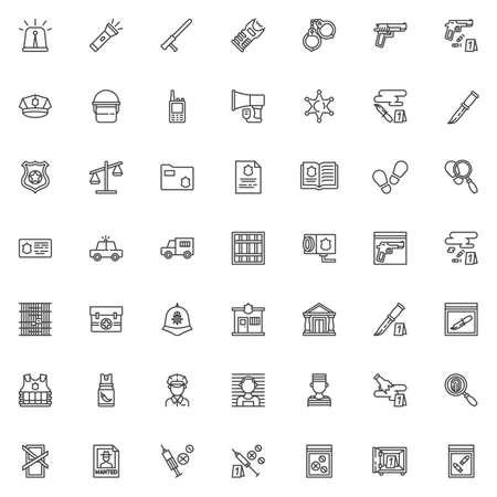 Police line icons set. linear style symbols collection, outline signs pack. vector graphics. Set includes icons as police badge, officer helmet, policeman insignia, crime scene investigation, prison
