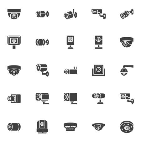 CCTV camera vector icons set, modern solid symbol collection, filled style pictogram pack. Signs, logo illustration. Set includes icons as security camera control, webcam, spy cam, dome surveillance Ilustração