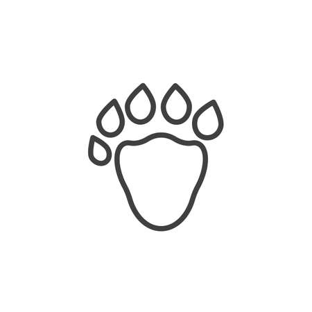 Sable paw print line icon. linear style sign for mobile concept and web design. Sable animal footprint outline vector icon. Symbol, logo illustration. Vector graphics