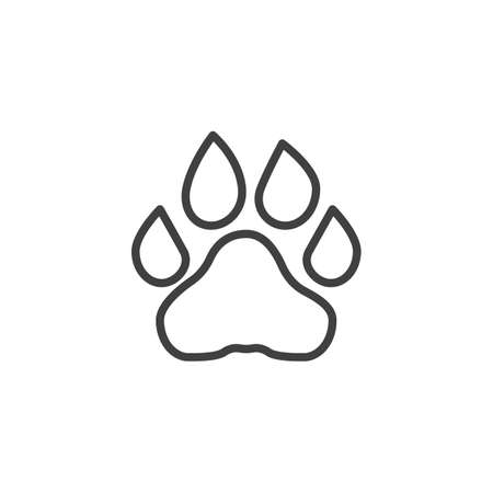 Lion paw print line icon. linear style sign for mobile concept and web design. Lion animal footprint outline vector icon. Symbol, logo illustration. Vector graphics Standard-Bild - 133348754