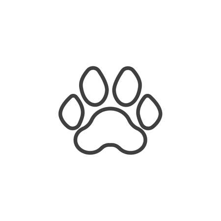 Tiger paw print line icon. linear style sign for mobile concept and web design. Tiger animal footprint outline vector icon. Symbol, logo illustration. Vector graphics Standard-Bild - 133348755