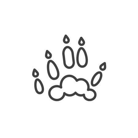Ferret paw print line icon. linear style sign for mobile concept and web design. Polecat animal footprint outline vector icon. Symbol, logo illustration. Vector graphics