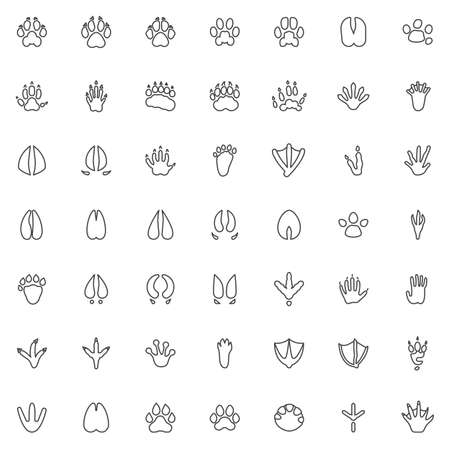 Animal paw print line icons set. linear style symbols collection, Animals footprints outline signs pack. vector graphics. Set includes icons as Dog Fox, Bear, Raccoon, Badger, Monkey, Eagle bird, Hoof Ilustração Vetorial