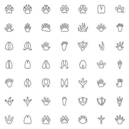 Set di icone della linea di stampa della zampa animale. raccolta di simboli di stile lineare, pacchetto di segni di contorno di impronte di animali. grafica vettoriale. Il set include icone come cane volpe, orso, procione, tasso, scimmia, uccello aquila, zoccolo Vettoriali