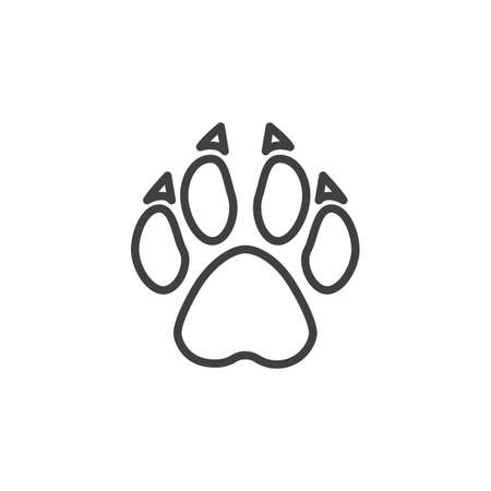 Wolf paw print line icon. linear style sign for mobile concept and web design. Wolf animal footprint outline vector icon. Symbol, logo illustration. Vector graphics