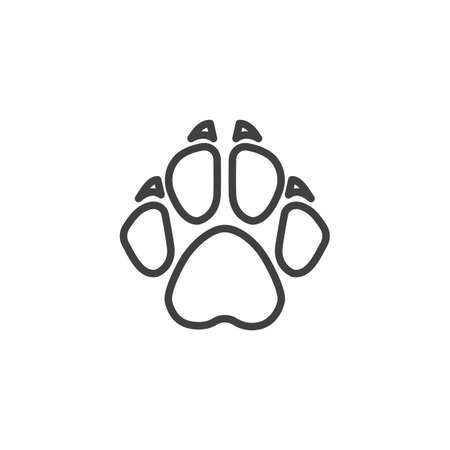 Fox paw print line icon. linear style sign for mobile concept and web design. Fox animal footprint outline vector icon. Symbol, logo illustration. Vector graphics