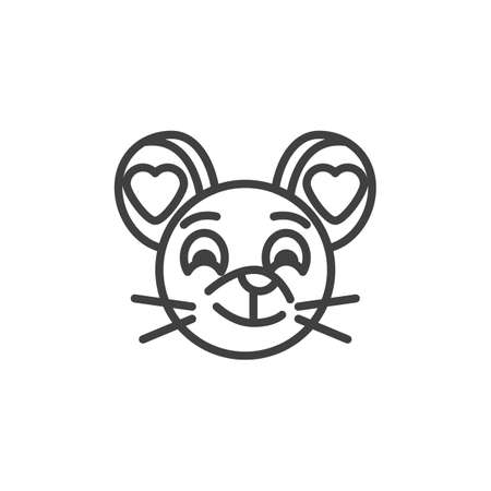 In love rat emoticon line icon. linear style sign for mobile concept and web design. Enamored mouse face emoji outline vector icon. Chinese 2020 year of the rat  symbol, logo illustration.