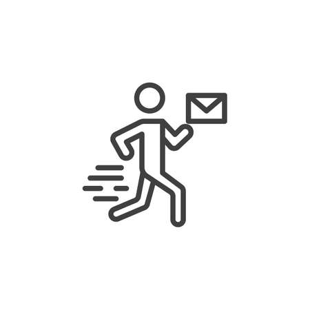 Postman delivery line icon. linear style sign for mobile concept and web design. Mail man with envelope outline vector icon. Express delivery symbol, logo illustration. Vector graphics