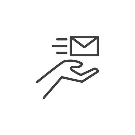 Hand with envelope line icon. linear style sign for mobile concept and web design. Express post delivery outline vector icon. Symbol, logo illustration. Vector graphics Ilustracja