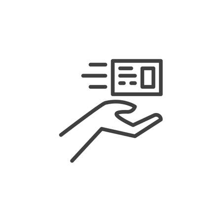 Express post delivery line icon. linear style sign for mobile concept and web design. Newsletter delivery hand outline vector icon. Symbol, logo illustration. Vector graphics Ilustracja