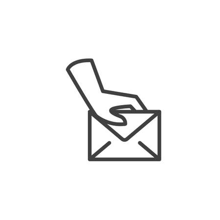 Postman delivery hand line icon. linear style sign for mobile concept and web design. Hand with envelope mail outline vector icon. Symbol, logo illustration. Vector graphics