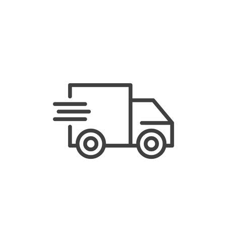 Express delivery service line icon. Fast shipping linear style sign for mobile concept and web design. Fast delivery truck outline vector icon. Symbol, logo illustration. Vector graphics Stock Vector - 133377798