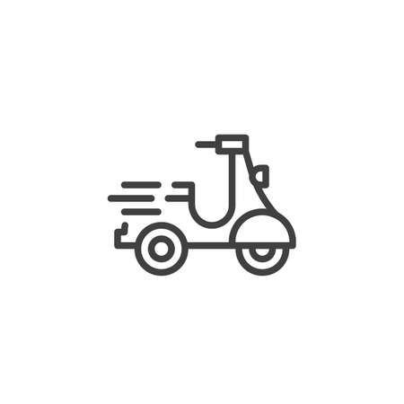 Fast delivery scooter line icon. linear style sign for mobile concept and web design. Express delivery bike outline vector icon. Symbol, logo illustration. Vector graphics