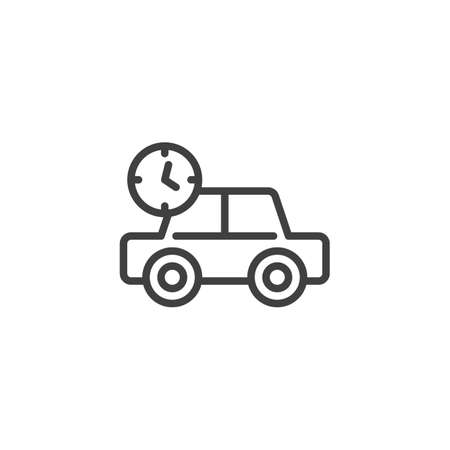 Transportation delivery time line icon. Car with clock linear style sign for mobile concept and web design. Express delivery outline vector icon. Symbol, logo illustration. Vector graphics Stock Vector - 133377808