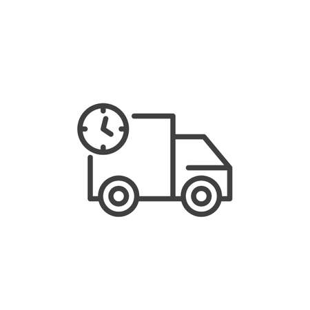 Truck delivery time line icon. Van with clock linear style sign for mobile concept and web design. Express delivery outline vector icon. Symbol, logo illustration. Vector graphics Stock Vector - 133377809