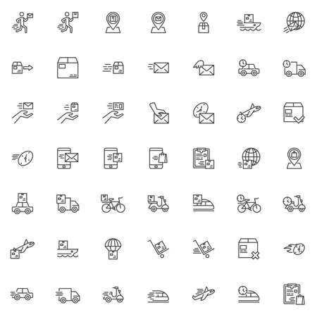 Express delivery line icons set. Fast shipping linear style symbols collection, outline signs pack. vector graphics. Set includes icons as Courier, Parcel tracking, Package box, Delivery Scooter