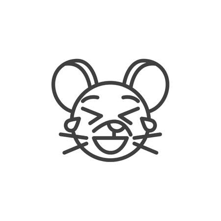 Laughing rat emoticon line icon. linear style sign for mobile concept and web design. Tear Laugh mouse face emoji outline vector icon. Chinese 2020 year of the rat symbol, logo illustration.