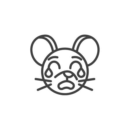 Loudly crying rat emoticon line icon. linear style sign for mobile concept and web design. Crying mouse face emoji outline vector icon. Chinese 2020 year of the rat  symbol, logo illustration.