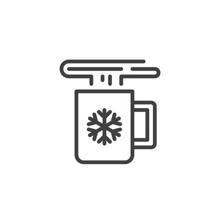 Christmas mug with hot drink line icon. linear style sign for mobile concept and web design. Hot drink cup with snowflake outline vector icon. Symbol, logo illustration. Vector graphics Çizim
