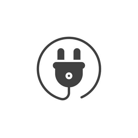 Wire Power Plug vector icon. filled flat sign for mobile concept and web design. Electrical plug with cable glyph icon. Symbol, logo illustration. Vector graphics Ilustrace