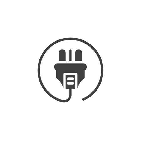 Electric plug with cable vector icon. filled flat sign for mobile concept and web design. Power Plug glyph icon. Symbol, logo illustration. Vector graphics Ilustrace