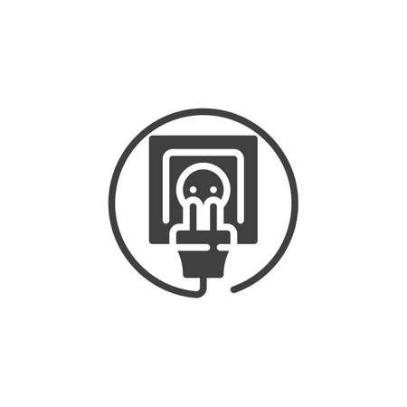 Electric socket and plug vector icon. filled flat sign for mobile concept and web design. Power outlet and plug glyph icon. Symbol, logo illustration. Vector graphics