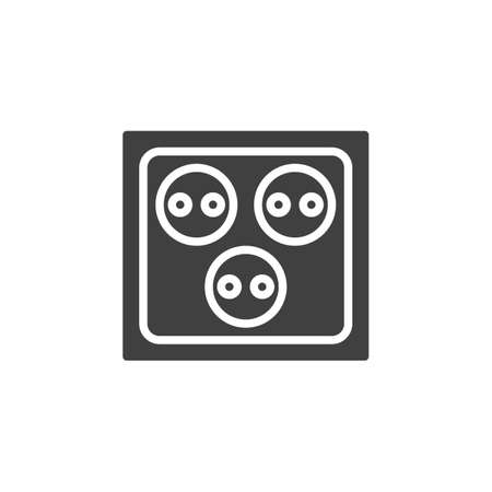 Triple Electrical socket vector icon. filled flat sign for mobile concept and web design. Three electric outlet glyph icon. Symbol, logo illustration. Vector graphics