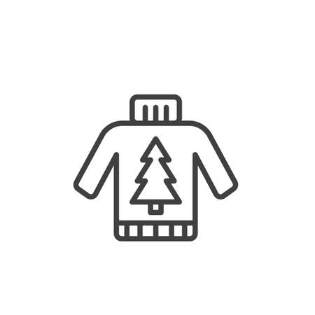 Christmas sweater line icon. linear style sign for mobile concept and web design. Sweater with xmas tree ornament outline vector icon. Symbol, logo illustration. Vector graphics Stock Illustratie