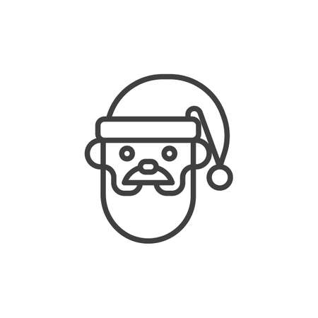 Santa Claus head line icon. linear style sign for mobile concept and web design. Bearded Santa Clause with hat outline vector icon. Symbol, logo illustration. Vector graphics