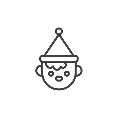 Party boy with hat line icon. linear style sign for mobile concept and web design. Elf costume outline vector icon. Symbol, logo illustration. Vector graphics