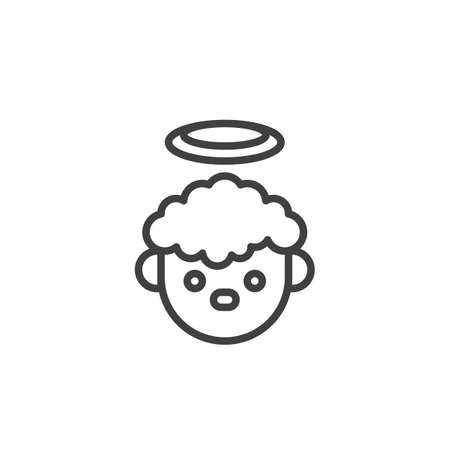 Angel boy line icon. linear style sign for mobile concept and web design. Christmas boy with halo outline vector icon. Symbol, logo illustration. Vector graphics