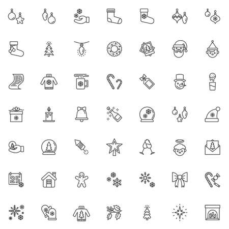 Christmas decoration line icons set. linear style symbols collection, outline signs pack. vector graphics. Set includes icons as new year tree, xmas bauble, santa clause, gift box, calendar, snowflake