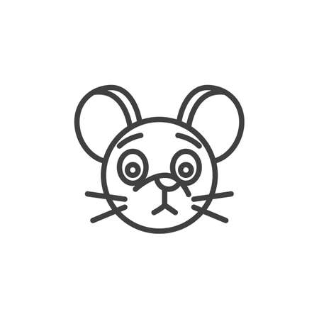 Unhappy rat emoticon line icon. linear style sign for mobile concept and web design. Disappointed mouse face emoji outline vector icon. Chinese 2020 year of the rat symbol, logo illustration.