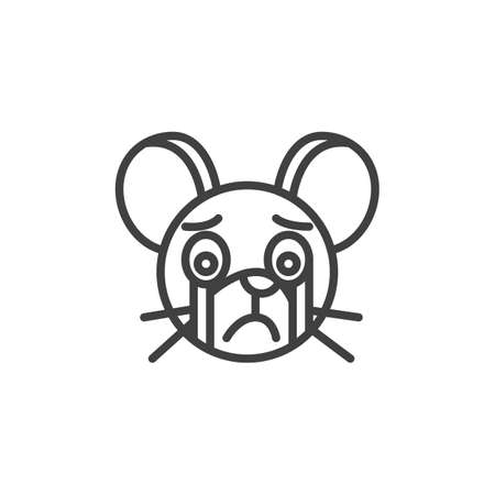 Crying rat emoticon line icon. linear style sign for mobile concept and web design. Crying mouse face emoji outline vector icon. Chinese 2020 year of the rat symbol logo illustration. Vector graphics
