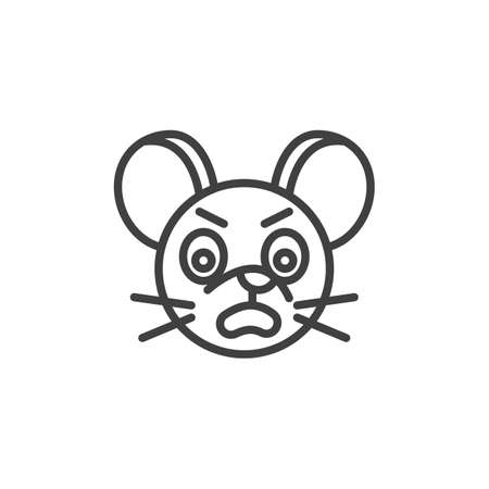 Annoyed rat emoticon line icon. linear style sign for mobile concept and web design. Angry mouse face emoji outline vector icon. Chinese 2020 year of the rat symbol logo illustration. Vector graphics