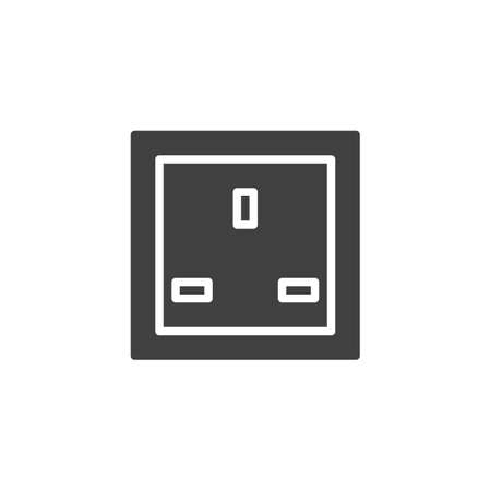 Type G power socket vector icon. filled flat sign for mobile concept and web design. Electrical Outlet glyph icon. Symbol, logo illustration. Vector graphics