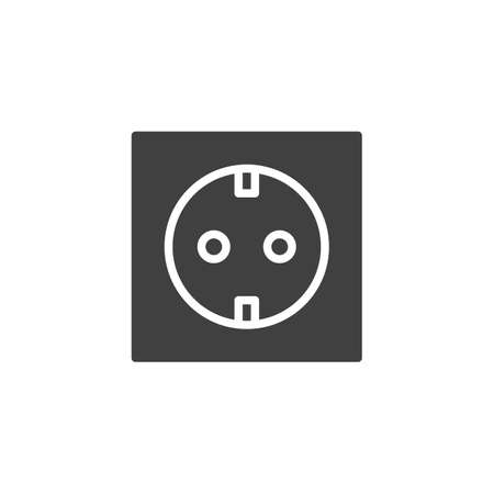 Type C power socket vector icon. filled flat sign for mobile concept and web design. Electrical Outlet glyph icon. Symbol, logo illustration. Vector graphics