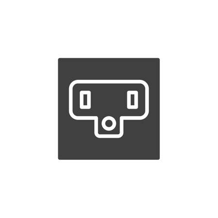 Type B Power socket vector icon. filled flat sign for mobile concept and web design. Electrical Outlet glyph icon. Symbol, logo illustration. Vector graphics