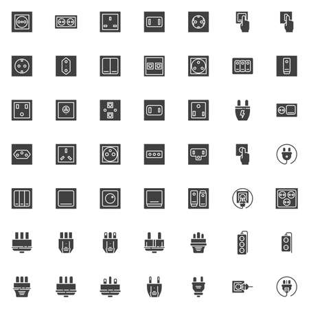 Electric plug and socket vector icons set, modern solid symbol collection, filled style pictogram pack. Signs, logo illustration. Set includes icons as power switch type, electrical socket, toggle Ilustração