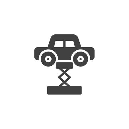 Car lifting vector icon. filled flat sign for mobile concept and web design. Car on stand glyph icon. Symbol, logo illustration. Vector graphics